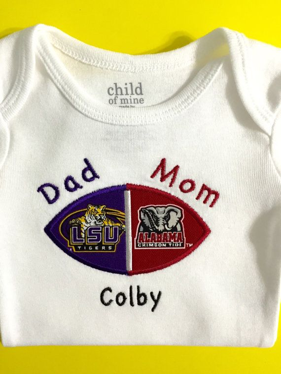 Hey, I found this really awesome Etsy listing at https://www.etsy.com/listing/234045952/lsu-tigers-alabama-house-divided-baby