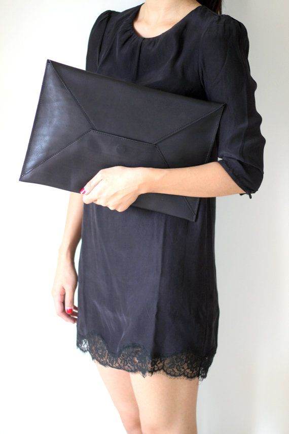 ENVELOPE- Oversize Leather Clutch in Black