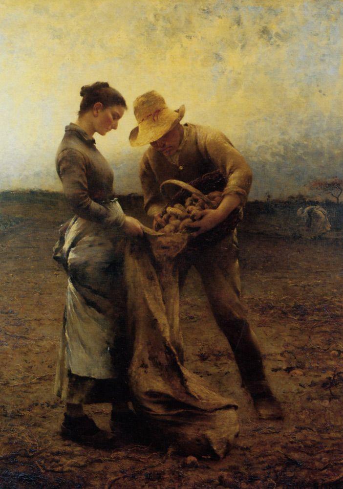 German Oil Potato Harvest Painting