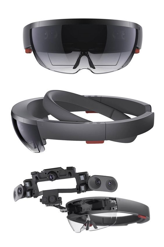 Microsoft HoloLens augmented reality headset hardware.: