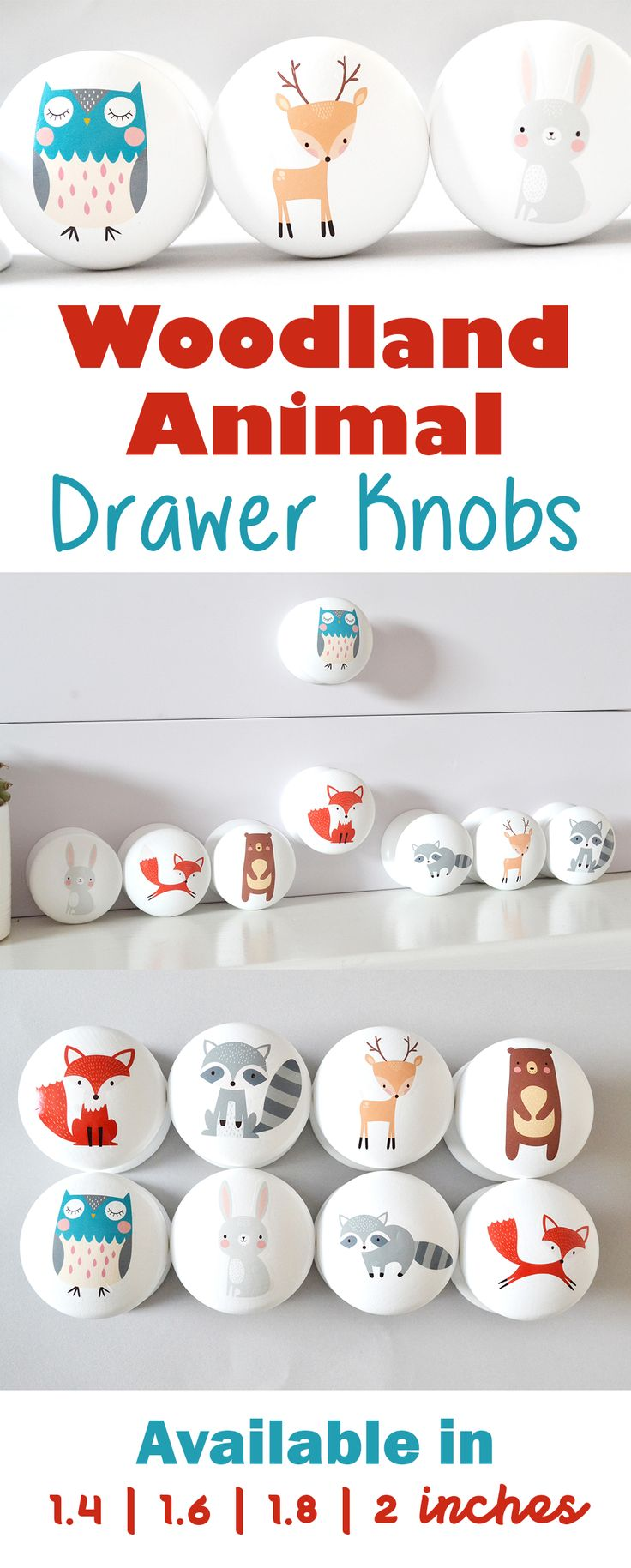How adorable are these woodland animal drawer knobs! Really cute little handles! Perfect for the wardrobes in the nursery. Can't wait to put these in my son's nursery! #woodland #animals #nursery #etsy #ad
