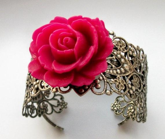 Fuchsia Rose Flower Charm Silver Cuff Bracelet