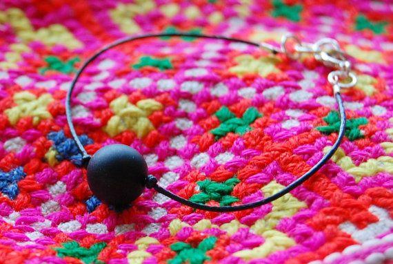 Leather cord bracelet with one black semi gemstone by AasJewelry