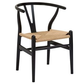 Poly and Bark Black Weave Wishbone Style Y-Arm Chair | Overstock.com Shopping - The Best Deals on Dining Chairs