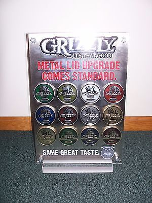 Grizzly Snuff Chewing Tobacco Metal Lid Display  ~ 2 Sided. New in Original Box