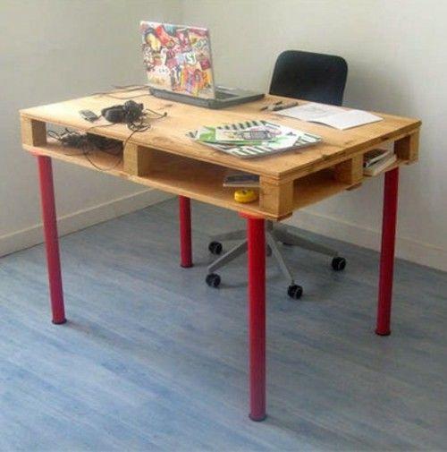 Desk itself build Euro-pallets legs IKEA