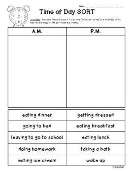 """I created this quick and easy AM vs. PM cut and paste sorting worksheet. Following a mini-lesson on AM vs. PM, this would be a great follow-up activity for students to read some events on their own and decide if they occur during the AM or PM.  Most are pretty """"cut and dry"""" and are clear if they belong in the AM or PM column."""