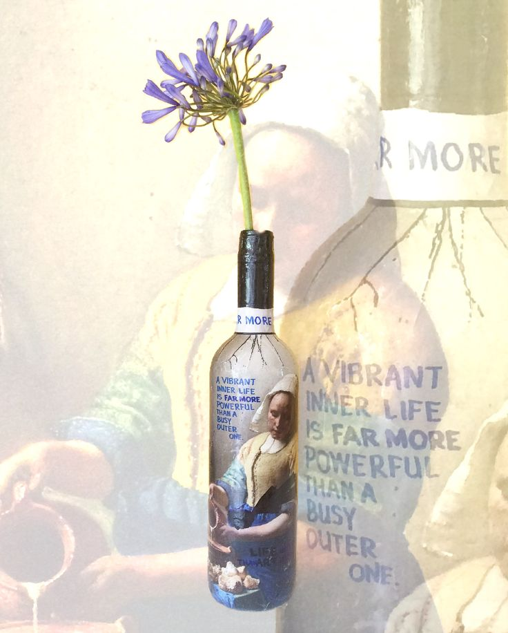 """""""A vibrant inner life is FAR MORE powerful than a busy outer life"""" #farmore #vermeer #powerful #lifestyle #quotes #quoteoftheday #art #contemporaryart #messageonabottle #artonabottle #daisybogaards"""