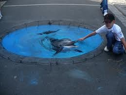 Dolphin 3D sidewalk art