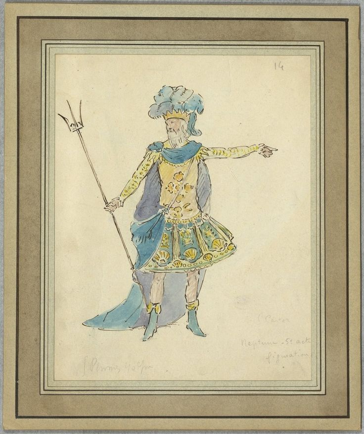 """Costume design (1918), by Jacques Drésa (1869-1929), for Neptune, in Act 5 of """"Castor et Pollux"""" (1737), by Jean-Philippe Rameau (1683-1764)."""