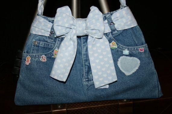 Kindertasche blau Jeans mit Charms Prinzessin