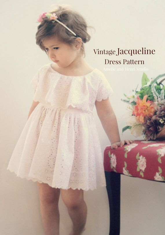 New Vintage Jacqueline Dress PDF pattern has all the style a little girl should have in a dress, simple neckline, feminine trim, lined bodice,