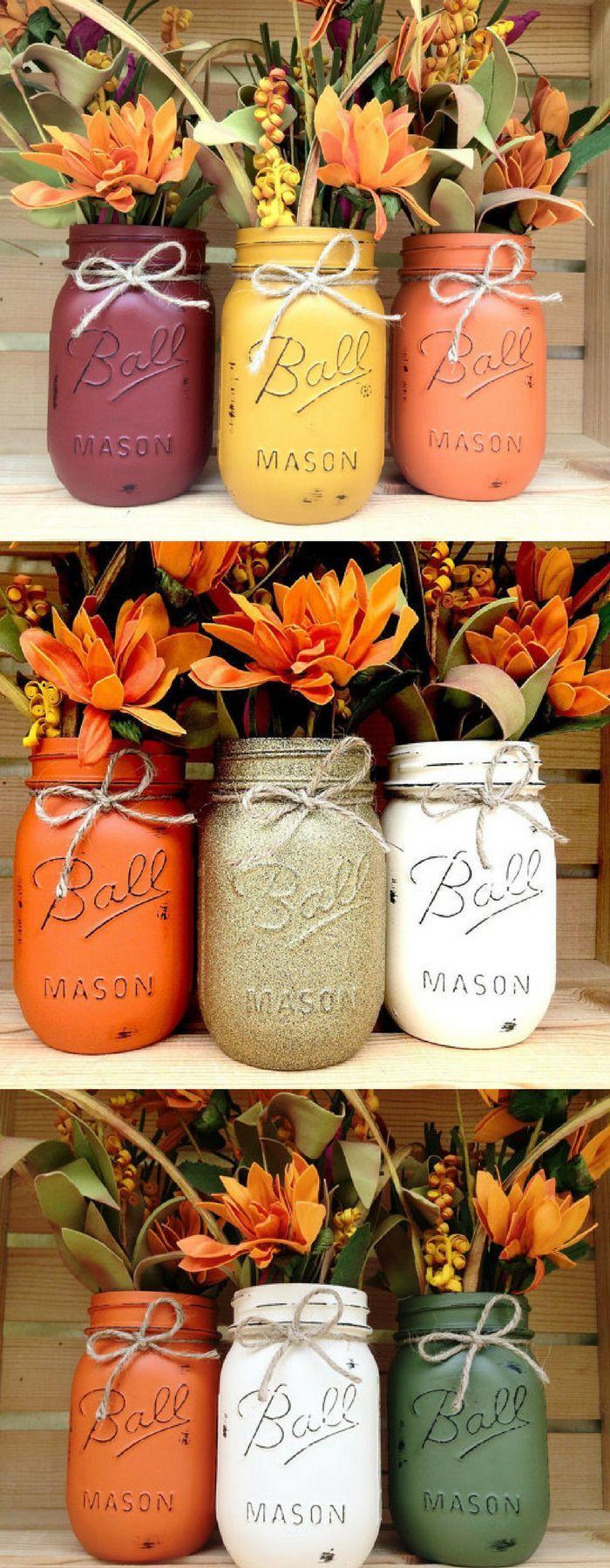 Pick 3 Mason Jar Trio   Autumn   Home Decor   Fall Decor   Thanksgiving, Centerpiece   Fall Wedding   Fall Centerpiece   Halloween Decor   Pumpkin #affiliatelink #fall #decor #masonjar #falldecorideas