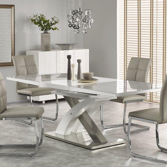 Table A Manger Grise Et Blanc Design Extensible 220cm X 90cm Flora