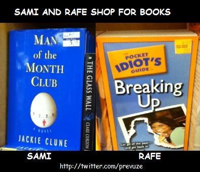 Sami and Rafe shop for books...