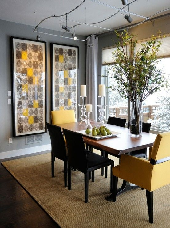 7 Best Images About Dining Room On Pinterest  Peacocks Yellow Delectable Grey And Yellow Dining Room Design Decoration