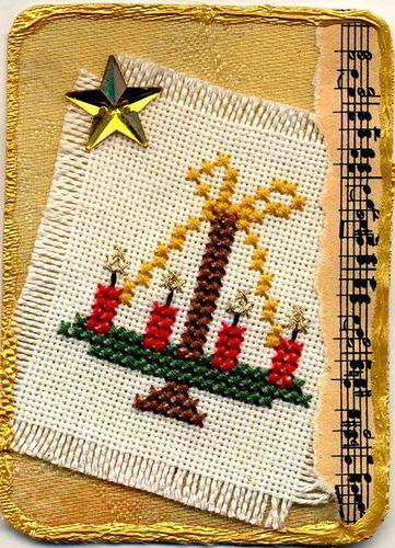 Kreuzstich Weihnachtsgrüße Adventskranz / Cross Stitching Christmas Wreath Candles