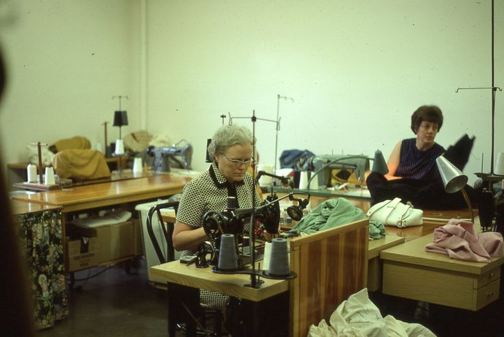Mom (Irene) working in the farm sewing room (Roger Johnson)