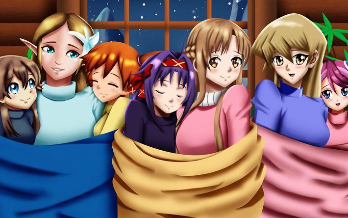 Download wallpapers Sword Art Online, Asuna Yuuki, Kazuto Kirigaya, Suguha Kirigaya, SAO, light novel, bishojo, Alicia Rue, Keiko Ayano