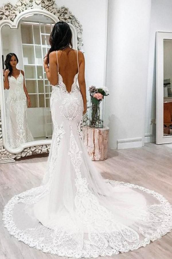 White Lace Tulle Mermaid Spaghetti Straps Court Train Wedding Dress with Appliques, SW114 #Whiteweddingdresses #Openbackweddingdresses #laceweddingdress