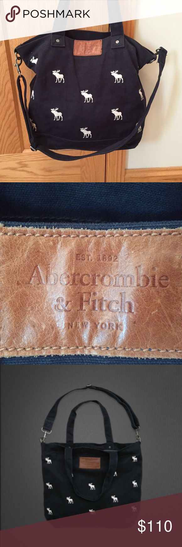 Abercrombie & Fitch Flagship Exclusive Tote Excellent condition. Lining is very clean. Moose pattern all over front and back of bag. Inside pocket. Crossbody strap. Zip closure. Open to reasonable offers. Abercrombie & Fitch Bags Totes
