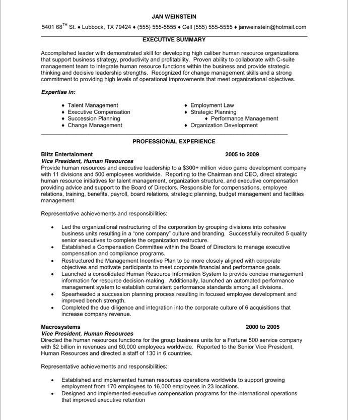 Old Version Hr Resume Free Resume Samples Human Resources Resume