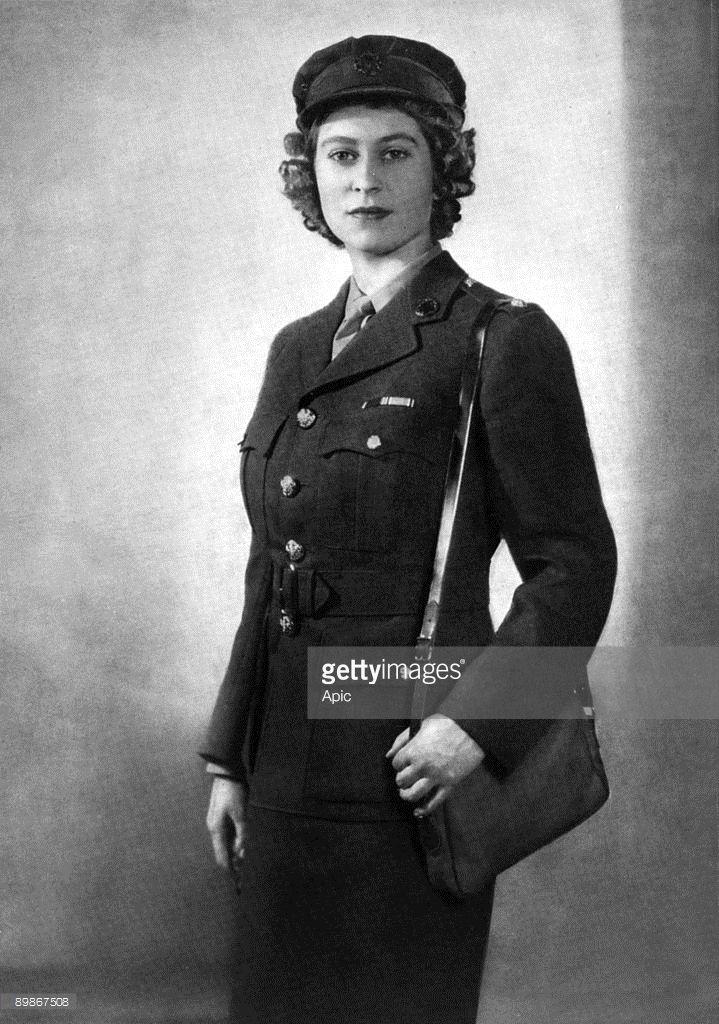 Princess Elizabeth of England (future queen Elizabeth II) young as second subaltern in ATS, 1945