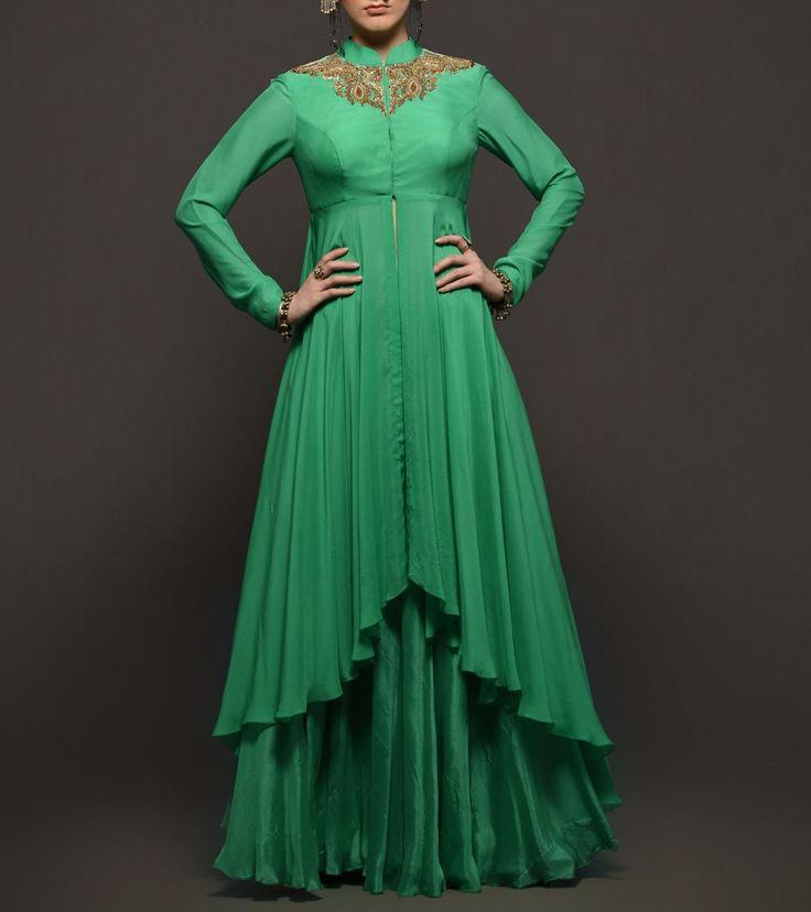 Green #Chiffon #Zardozi #Embroidered #Jacket With #Chinon #Sharara by #Megha And #Jigar at #Indianroots