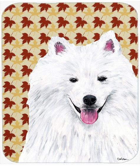 American Eskimo Fall Leaves Portrait Mouse Pad, Hot Pad or Trivet
