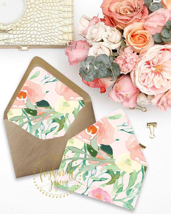 Printable envelope liners floral envelope by FreshmintPaperie