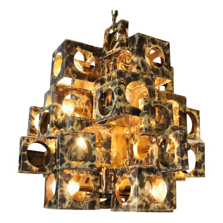 Brutalist Chandelier by Tom Greene for Feldman  sc 1 st  Pinterest : brutalist lighting - www.canuckmediamonitor.org