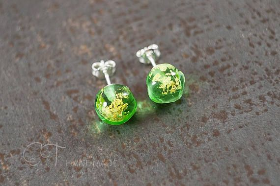 Green Murano glass stud earrings  Green studs  Unique gift