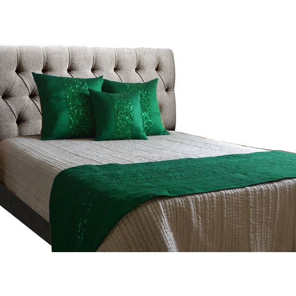 Bed Runner, Pillow Covers, Emerald Green Throw, Sequin Pillows Sequin... ($39) ❤ liked on Polyvore featuring home, bed & bath, bedding, quilts, cotton quilted coverlet, quilted bedding sets, emerald green bedding, quilted coverlet and cotton bedding