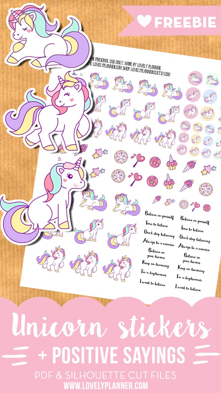 FREE Printable Cute Unicorn Stickers + positive sayings for your planner from Lovely Planner