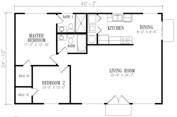 1000 Square Foot Floor Plans | 1000 square feet, 2 bedrooms, 2 batrooms, on 1 levels, Floor Plan ...