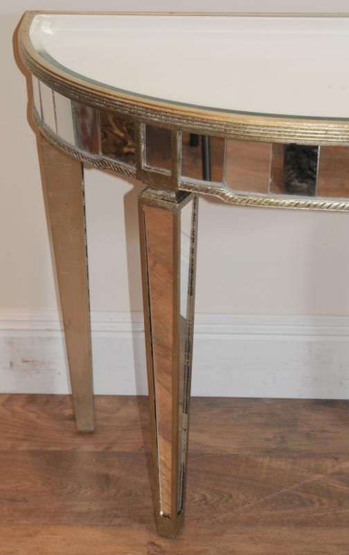 Photo of Art Deco Mirrored Console Table Demi Lune Tables