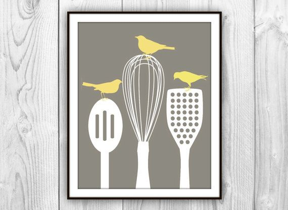 Birds On Kitchen Utensils Art Print Modern Kitchen Decor Charcoal Brown White Yellow