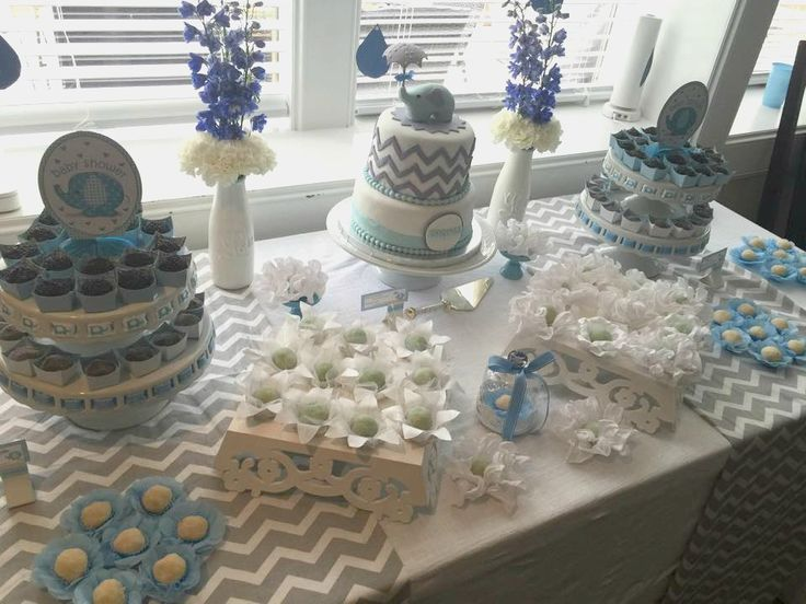 Elephant Baby Boy Shower Ideas   Love The Decor And Food Ideas!