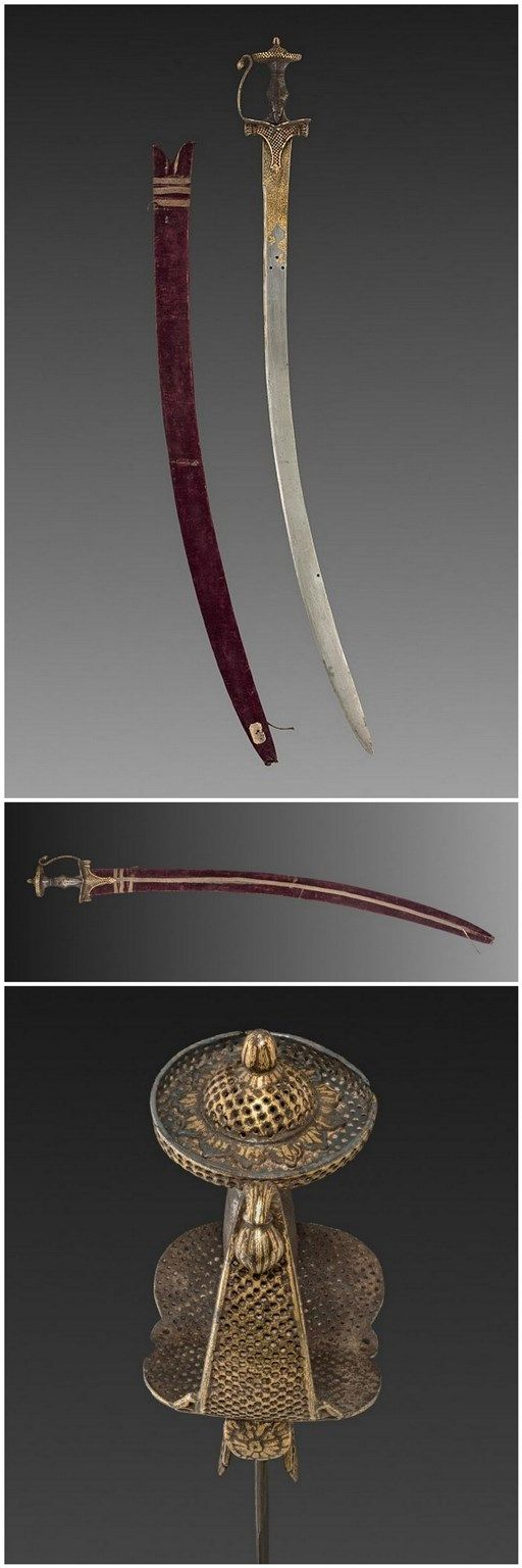 Tulwar Sword. Dated: 18th-19th century. Culture: Indian. Medium: gold with inlay and velvet case. | Copyright © 2015 The Cleveland Museum of Art