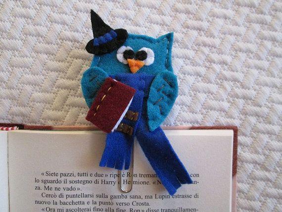 Owl reader - Owl paper clip - felt owl - felt bookmark - Corvo-Gufo  Segnalibro di feltro /Graffetta con di TinyFeltHeart