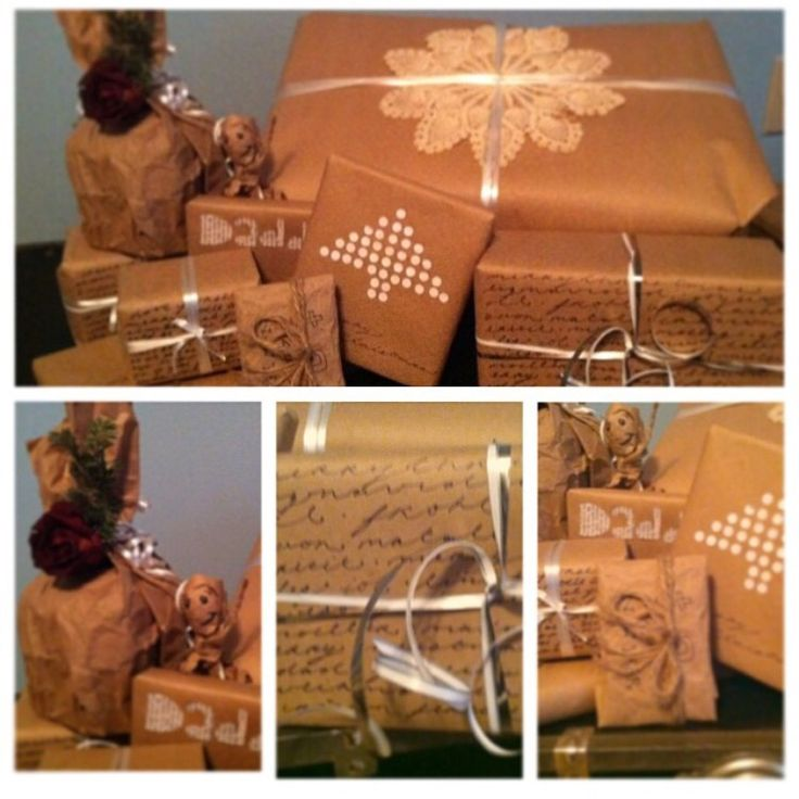 Collection of old presents: brown Kraft paper - lace doilies - white ribbon - French script Christmas songs - newspaper names - dried flowers - hole puncher clippings  #merrychristmas #gifts #giftwrapping #resourceful #vintage