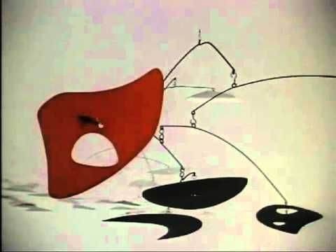 alexander calder video showing many stabiles and mobiles in motion. kid friendly