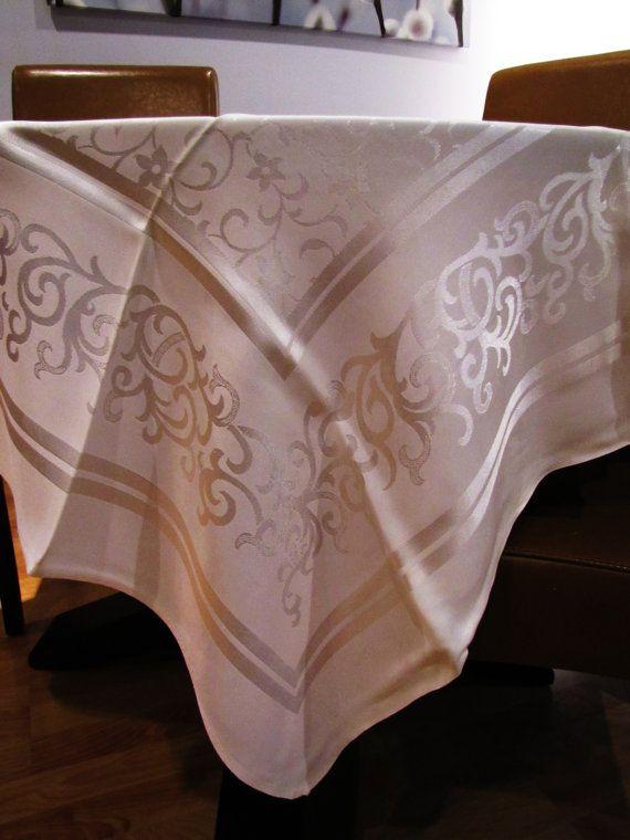 ivory elegant tablecloth   vintage ivory damask tablecloth. wedding linens by VintageTins