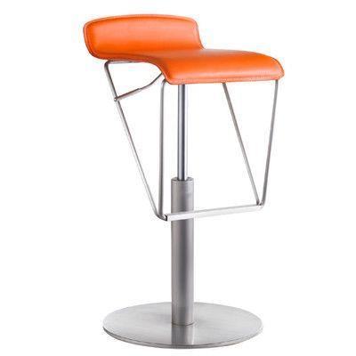 Bellini Modern Living Alfa Adjustable Height Swivel Bar Stool Upholstery: Tangerine