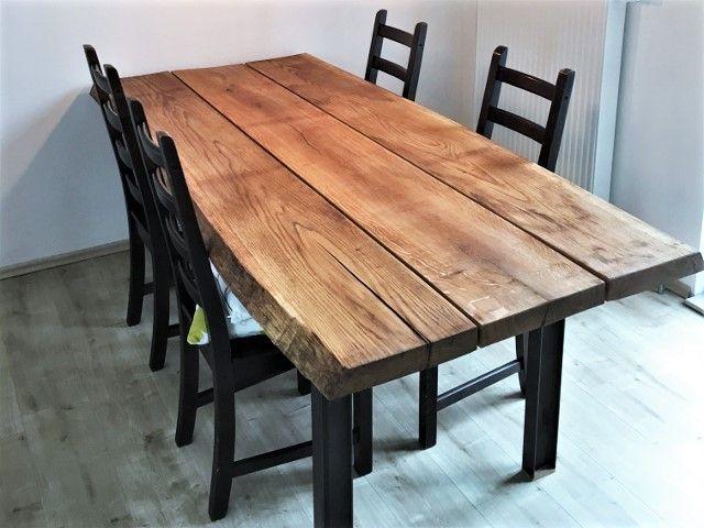 Eichentisch Selber Bauen Mit Baumkante Massiver Tisch