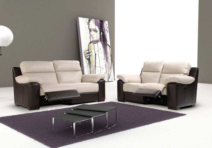 AUBORD - lederen salon in twee kleuren, met manuele of elektrische relaxen | Meubelen Crack