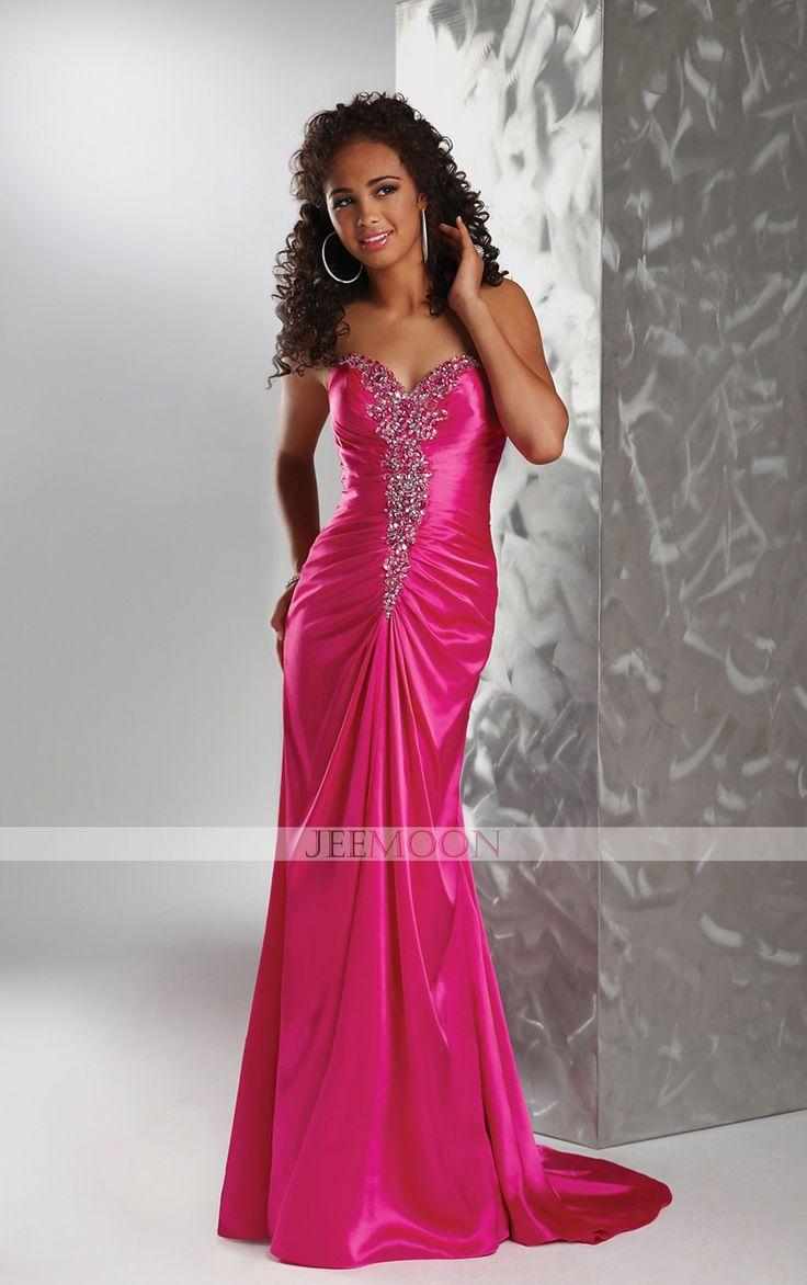 Floor-length Sheath/Column Strapless Fuchsia Satin Formal/Evening Dress