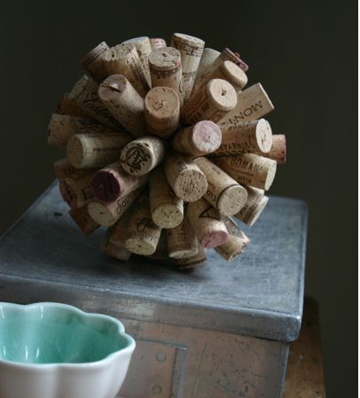 Recycled Wine Cork ball or ornament Starburst DIY from Family Chic, featured @totgreencrafts