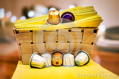 Kitchen decor, capsule coffee, placed on napkin, background lights