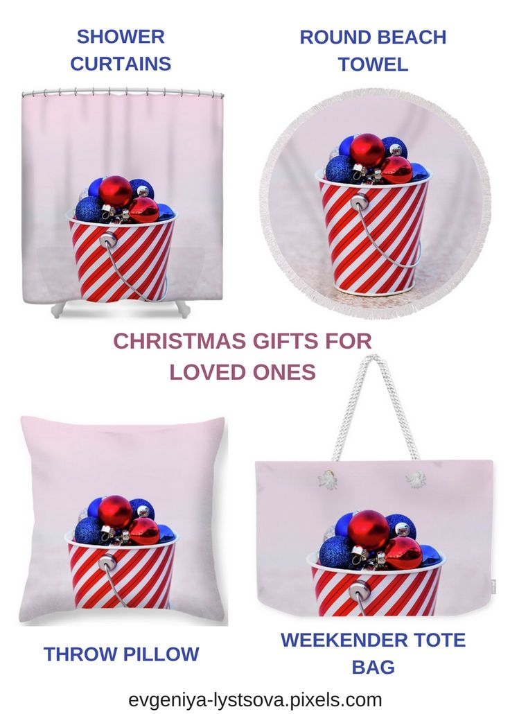 Ornaments at Pink Sunset by Evgeniya Lystsova. Red, Blue and White Balls Collected in Striped Bucket at Sunset for the Christmas Decor, Winter Holiday Concept, USA. Christmas Gifts, they are so easy and creative. Find more options in my gallery and make Christmas magic! #GiftIdeas #Christmas #HomeDecor #LifeStyle #USA #InteriorDesign